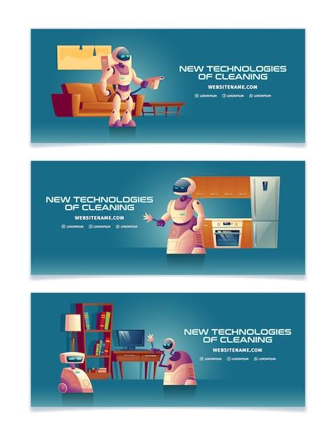 Nouvelles technologies dans les modèles de bannière de dessin animé de nettoyage à domicile ou de modèles de page de renvoi définis avec des serveurs robotiques futuristes Vecteur gratuit