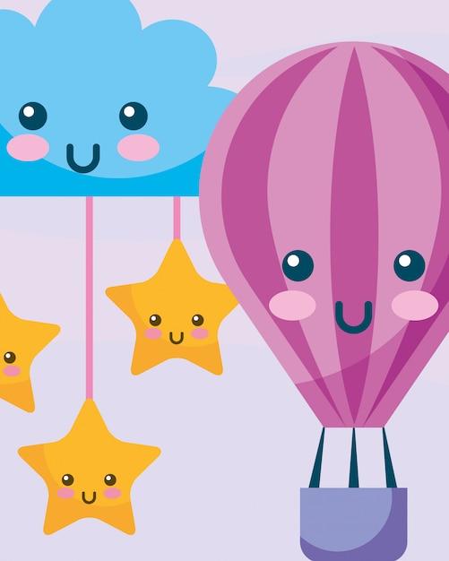 Nuage de ballon à air chaud kawaii et étoiles suspendues Vecteur Premium
