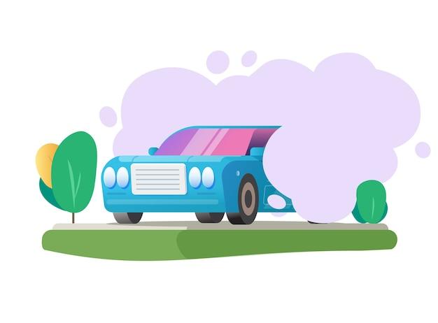 Nuage De Carbone Co2 D'émission De Pollution Du Véhicule Automobile Sur La Scène De La Nature Vecteur Premium