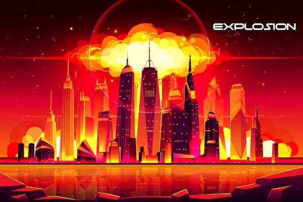 Nuage de champignons brûlants de détonation de bombe atomique s'élevant sous les bâtiments de gratte-ciels. Vecteur gratuit