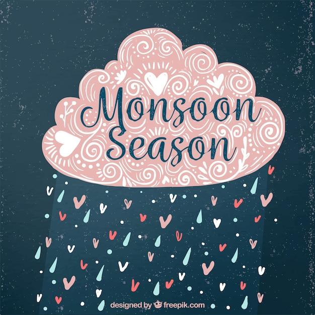 Nuage décoratif décoratif de mousson vintage avec pluie et coeurs Vecteur gratuit
