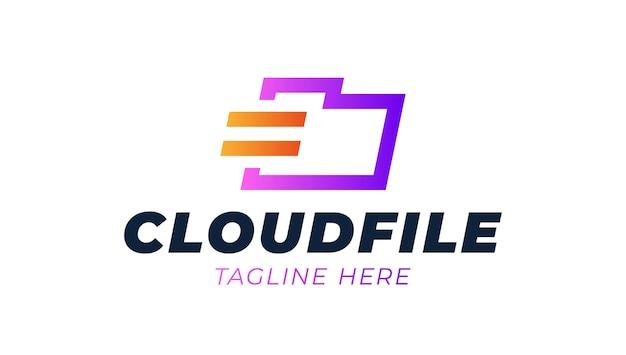 Nuage, Dossier, Stockage, Fichier Modèle De Logo D'entreprise Bleu. Vecteur Premium