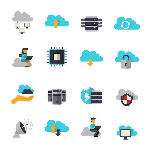 Le Nuage Informatique Plat Icons Set Vecteur gratuit