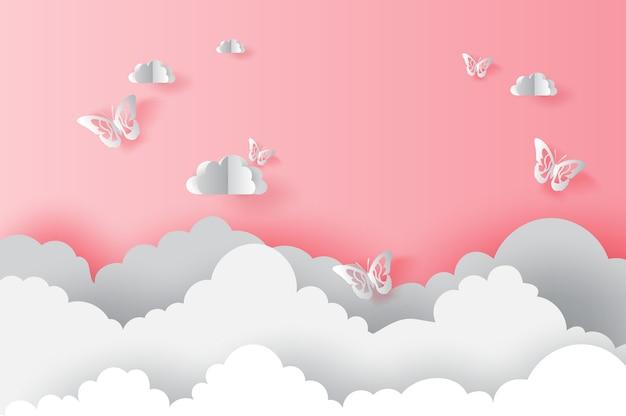 Nuage avec des papillons sur la saint-valentin rose Vecteur Premium