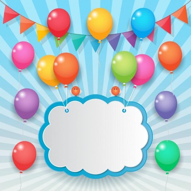 Nuage Tenue Avec Des Ballons Colorés Vecteur gratuit