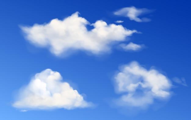Nuages Blancs Moelleux De Vecteur Dans Le Ciel Bleu Vecteur gratuit
