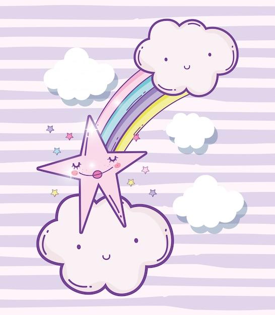 Nuages moelleux mignons avec arc en ciel et star de la beauté Vecteur Premium