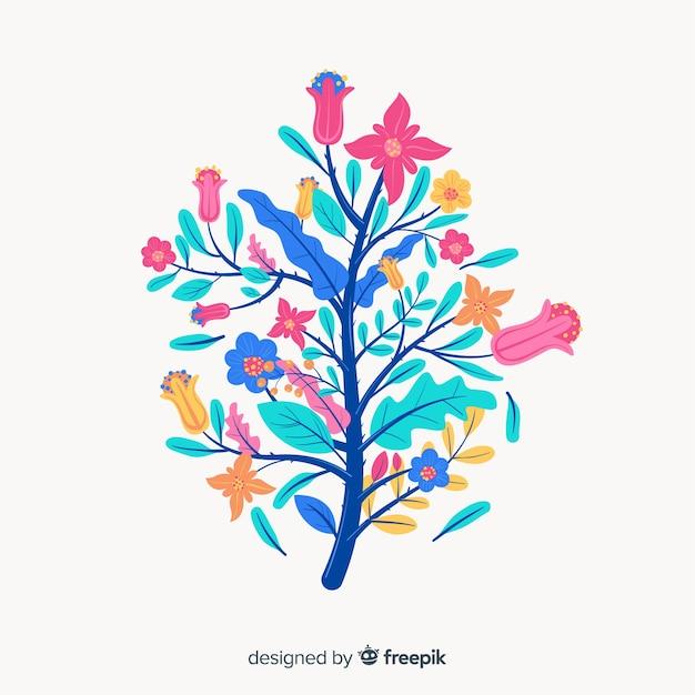 Nuances de bleu sur la silhouette du design plat de fleurs Vecteur gratuit