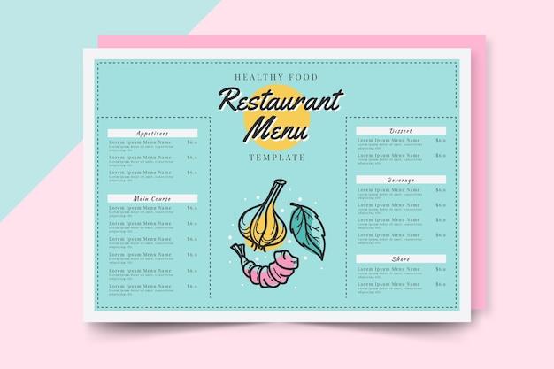 Nuances Bleues Pour Le Menu Du Restaurant De Restauration Rapide Vecteur gratuit