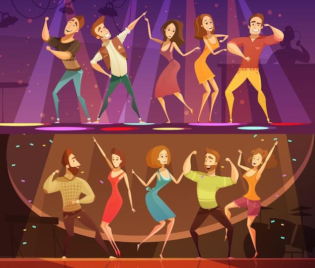 Nuit club discothèque partie libre mouvement moderne danse 2 bannières festives de dessin animé horizontal mis isolé Vecteur gratuit