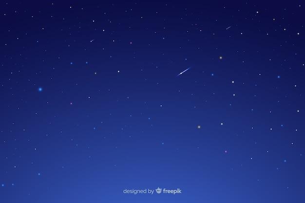 Nuit étoilée avec étoiles filantes Vecteur gratuit