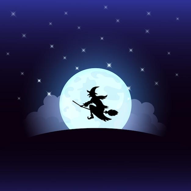 Nuit d'halloween sorcière à la pleine lune Vecteur Premium