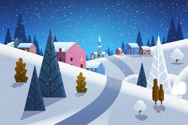 Nuit hiver village maisons montagnes collines paysage chute de neige fond horizontal plat Vecteur Premium