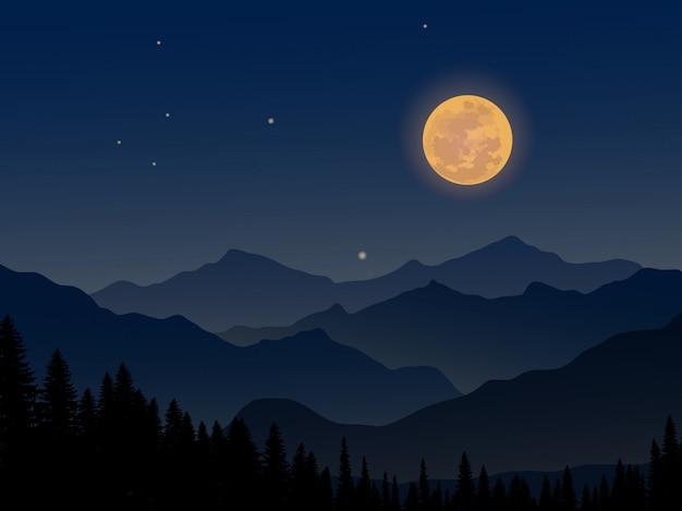 Nuit à la montagne avec la pleine lune et la pinède Vecteur Premium