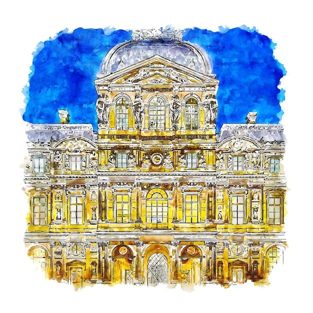 Nuit Musée Du Louvre Paris France Croquis Aquarelle Illustration Dessinée à La Main Vecteur Premium
