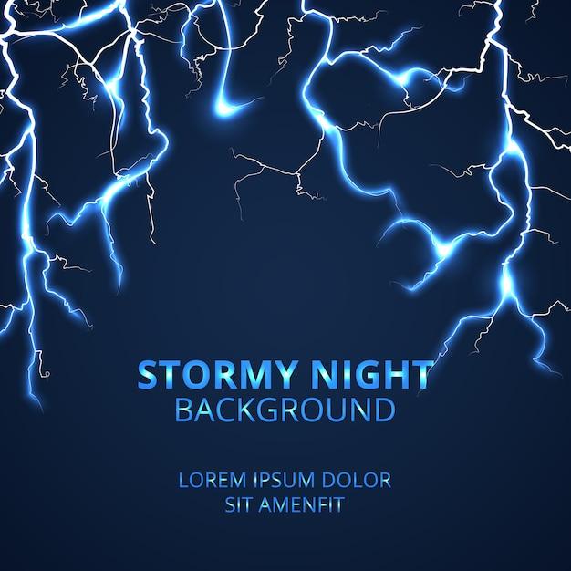 Nuit orageuse avec fond frappant de foudre Vecteur Premium