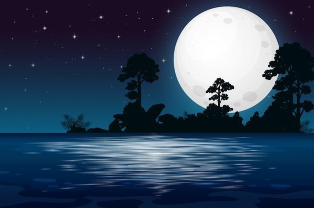 Une nuit de pleine lune au bord du lac Vecteur Premium