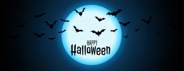 Nuit pleine lune avec illustration de halloween chauves-souris en vol Vecteur gratuit