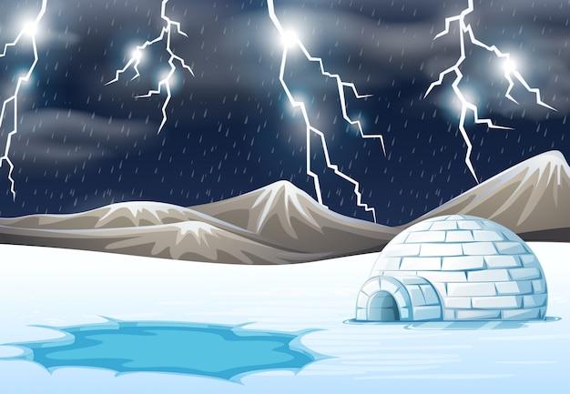 Nuit pluvieuse en hiver Vecteur gratuit