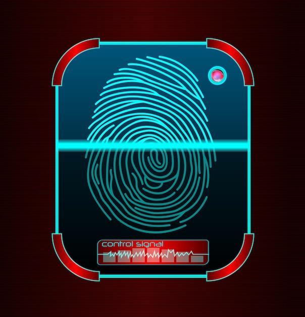 Numérisation d'empreintes digitales, illustration du système d'identification Vecteur Premium