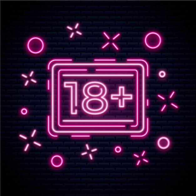 Numéro 18+ Dans Le Concept Néon Vecteur gratuit