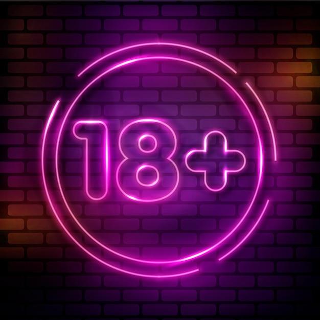 Numéro 18+ Dans Le Style Néon Rose Vecteur gratuit