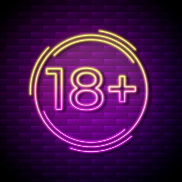 Numéro 18+ Dans Le Style Néon Vecteur gratuit