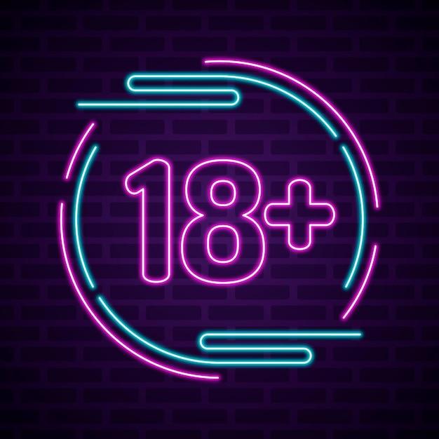 Numéro 18+ Dans Le Style Néon Vecteur Premium