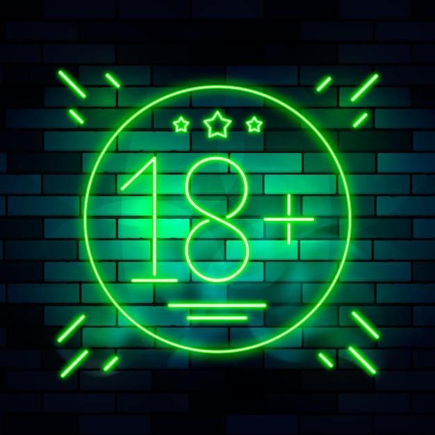 Numéro 18+ Dans Le Thème Néon Vecteur gratuit
