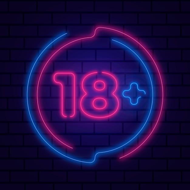 Numéro 18+ En Néon Vecteur gratuit