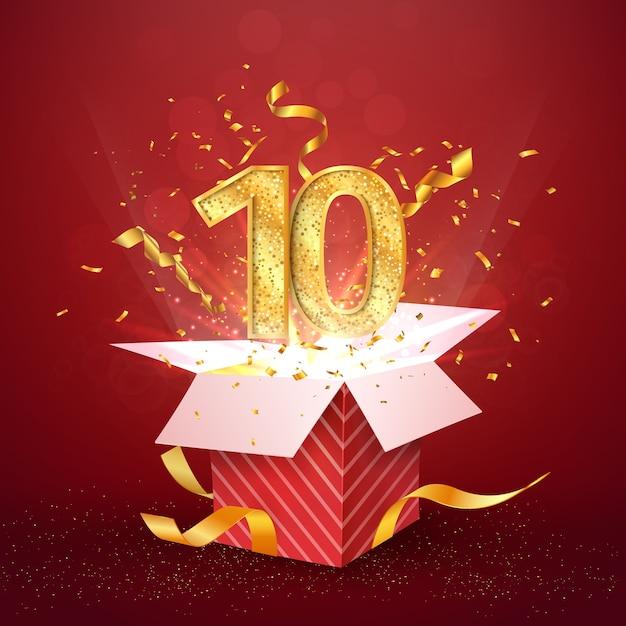 Numéro Anniversaire De Dix Ans Et Boîte-cadeau Ouverte Avec élément De Conception Isolé De Confettis Explosions Vecteur Premium