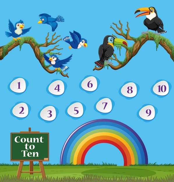 Numéro Un à Dix Avec Ciel Bleu Et Arc-en-ciel Coloré Vecteur Premium