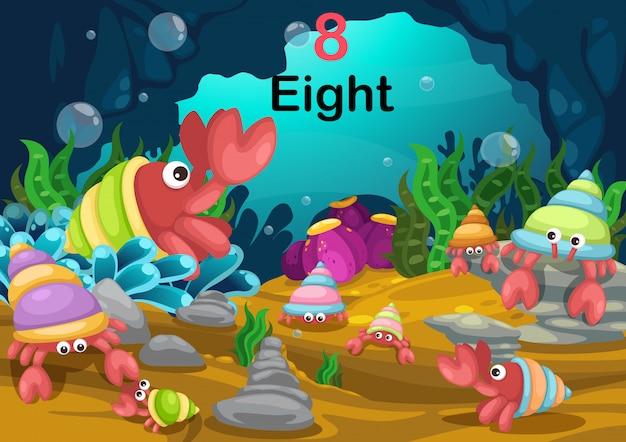 Numéro huit crabe ermite sous le vecteur de la mer Vecteur Premium