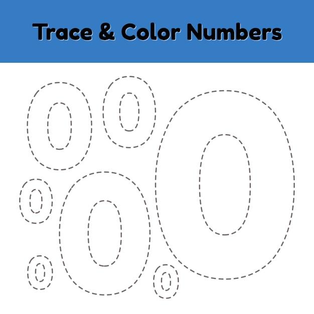 Numéro de ligne de trace pour les enfants de la maternelle et de la maternelle. ecrire et colorier un null. Vecteur Premium