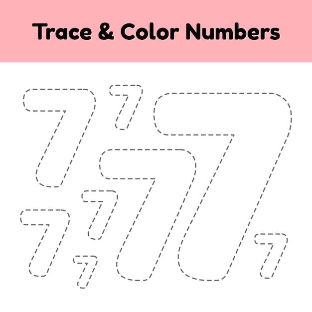 Numéro de ligne de trace pour les enfants de maternelle et préscolaire Vecteur Premium