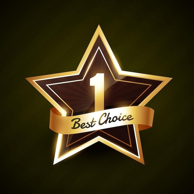 Numéro un meilleur choix étiquette dorée Vecteur Premium