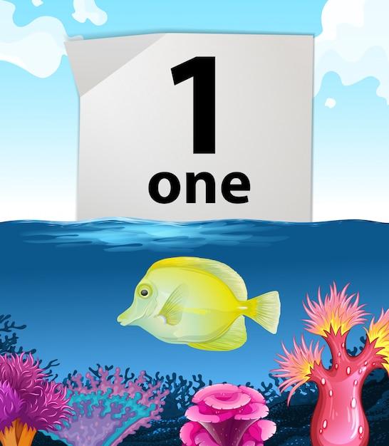 Numéro un et un poisson nageant sous l'eau Vecteur gratuit