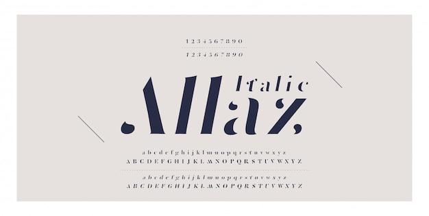 Numéro de police italique élégante lettre alphabet classique Vecteur Premium
