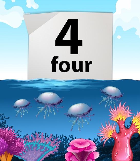 Numéro quatre et méduses sous l'eau Vecteur gratuit
