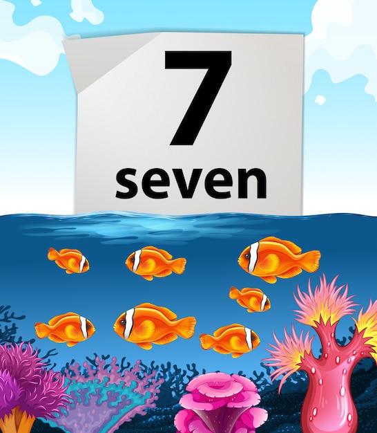 Numéro sept avec sept poissons nageant dans la mer Vecteur Premium