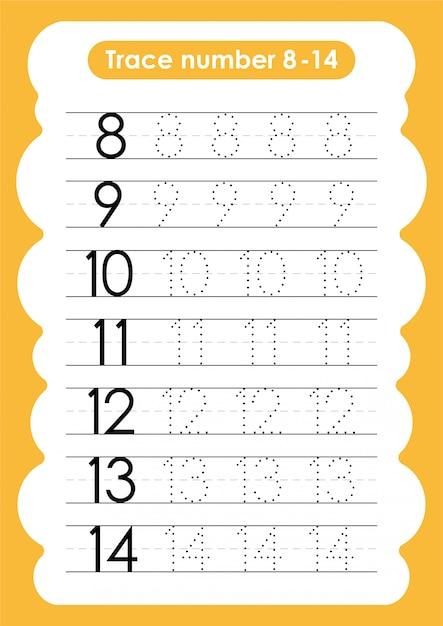 Numéro De Trace 8 à 14 - Pour Les Enfants De La Maternelle Et Du Préscolaire Vecteur Premium