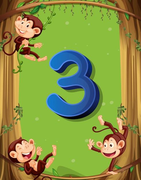 Numéro trois avec 3 singes sur l'arbre Vecteur gratuit