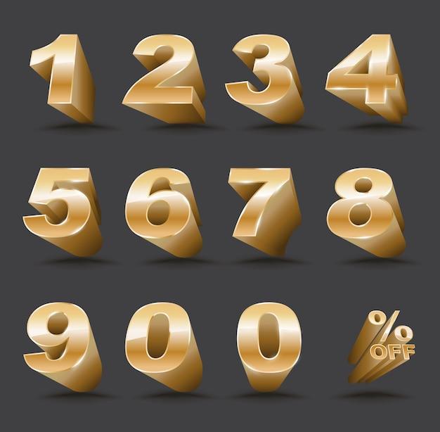 Numéro en trois dimensions réglé de 0 à 9 avec pourcentage de réduction Vecteur Premium
