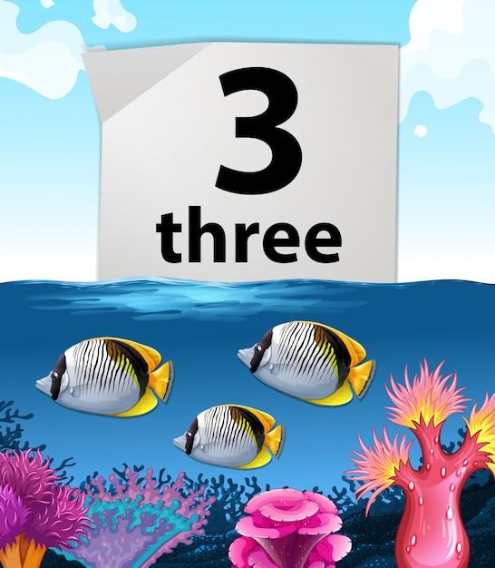 Numéro trois et trois poissons sous l'eau Vecteur gratuit