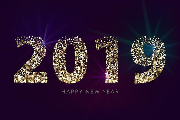 Numéros 2019 avec des paillettes d'or sur fond sombre. bannière de nouvel an avec des effets de lumière. Vecteur Premium