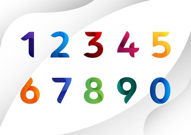 Numéros abstraits colorés modernes Vecteur Premium