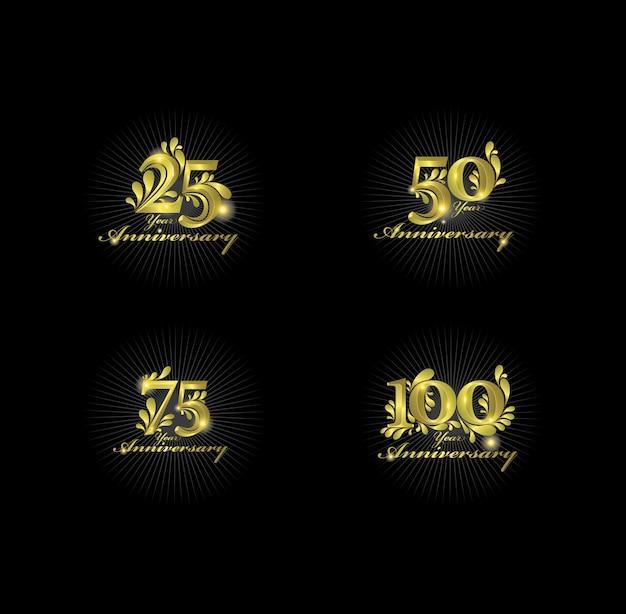 Numéros D'anniversaire D'or Vecteur Premium