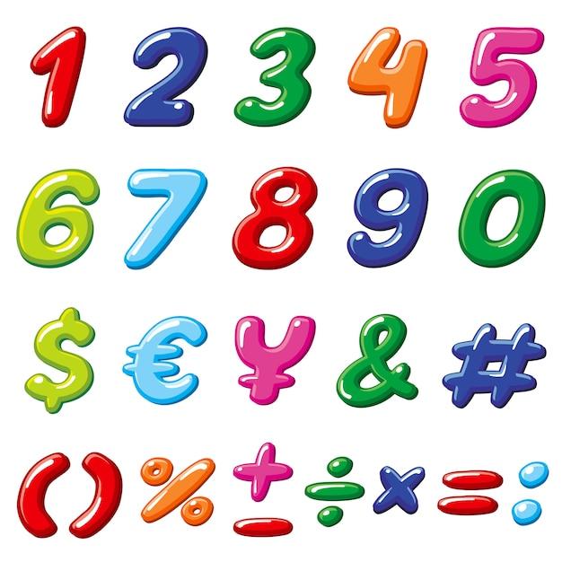 Numéros de bonbons arc-en-ciel de vecteur et symboles de l'alphabet brillants dessin animé drôle Vecteur Premium