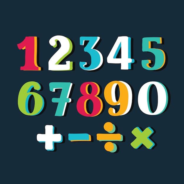 Numéros Colorés Drôles Sur Fond Blanc. Illustration Vecteur Premium