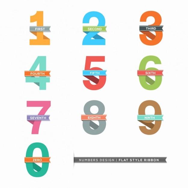 Numéros dans la collecte des rubans Vecteur gratuit